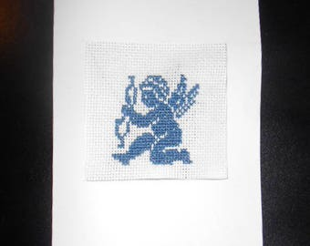 Embroidered hand on canvas - Cupid card