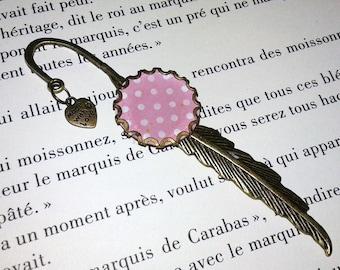 Bookmark feather - bronze - peas - Pink / White
