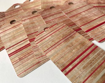 Set Of 11 Decorative Red Striped Gift Tags