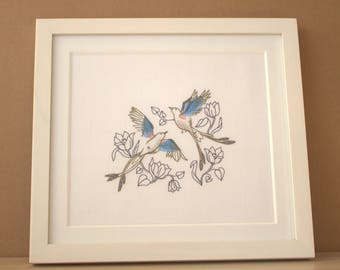 Love Bird Song Rustic White Framed Embroidered Picture