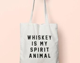 Whiskey Is My Spirit Animal Tote Bag Long Handles TB0057