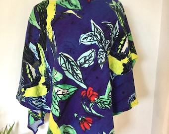 Bright Coloured Tropical Bird Print Poncho Heavy Cotton Original Handmade By Me Wear it three ways