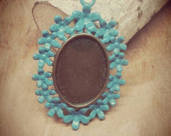 Support cabochon 18 x 25 mm brass bronze and enameled with a blue vintage creating jewelry, bronze jewelry, 5 x 3.3 cm