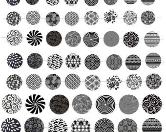 """Digital images """"Black and white patterns"""" round 18-20 and 25mm"""