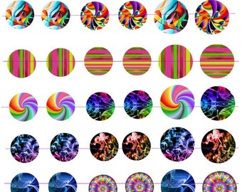 "Digital images ""Multicolored"" round 25 and 30mm"