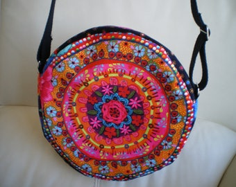 Small round handbag multicolor velvet fabric