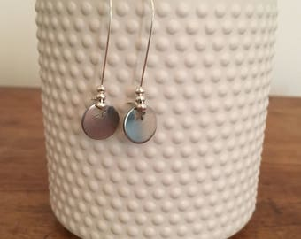 Silver sequins star earrings