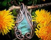 Weaveless Wrapped Copper pendant with Labradorite