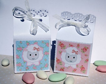 "Box dragees for baptism ""cute cute little lamb"" personalized with your child's name on the"