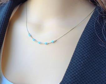 Opal Necklace, Dainty Opal Necklace, Silver Opal Necklace, Blue Opal Necklace, Opal Beads Necklace,October Birthstone Necklace,Opal Jewelery