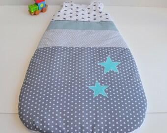 Sleeping bag 6 - 24 months made handmade stars gray and blue @lacouturebytitia