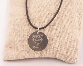 Super MOM steel engraved personalized - custom engraved jewelry pendant