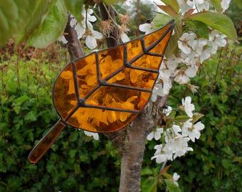 Stained glass orange leaf suncatcher