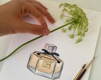 ORIGINAL watercolor painting Gucci Flora Perfume