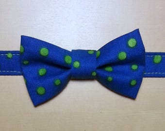Bow tie for boy blue with green polka dots
