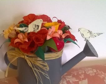 Watering can planter with beautiful origami flowers