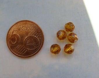 Lot 5 round 6mm topaz crystal Swarovski