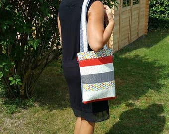 """Patchwork """"Foliage"""" tote bag and matching wallet"""