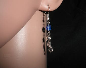 01195 - Stud Earrings, seahorse and blue glass bead