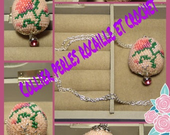 Pink necklace beaded beads