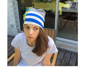 Blue, White & Gray Striped Tube Hat w/ Buttons