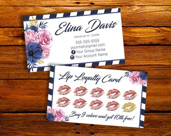 LipSense Loyalty Card - LipSense Business Card - Customer Loyalty - Punch Card - Buy 9 Get 10th Free - For LipSense Distributor