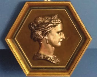 Bronze Wall Plaque, Portrait of Diana, Greek Goddess of Mountains, Forests, and Hunting, 1950's