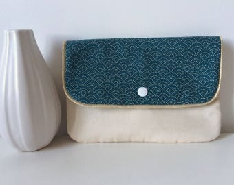 Pouch in unbleached cotton and fabric Japanese