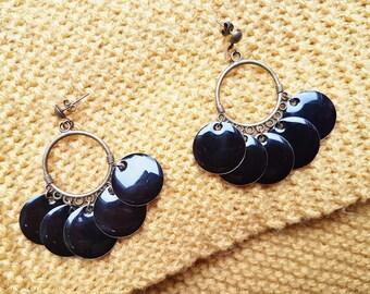 Earrings black and metal Bronze (drilled)