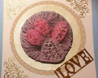Valentine's day, 3D, 3 pink hyacinths, wreath of twigs and fancy heart card