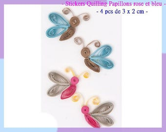 Stickers Quilling colorful Butterfly - 4 pcs - new