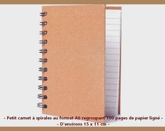 ♥ Journal blank 15 x 11 cm spirals - 100 lined pages.