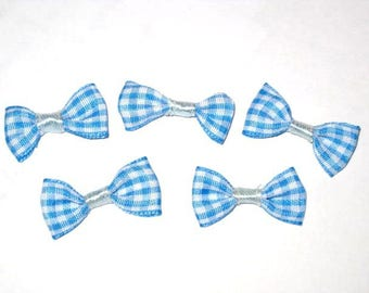 Set of 5 blue gingham fabric bow