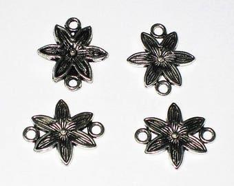 Set of 4 Fleur connectors silver-plated 1.8 cm