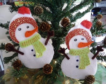 Handmade snowman hand made white felt.