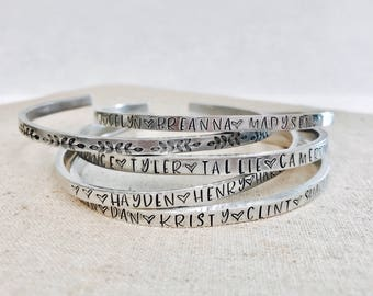 Mother's bracelet • skinny cuff • family bracelet • kids names • Pet bracelet • siblings • mother daughter • hand stamped metal bracelet