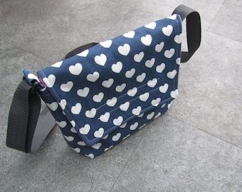 Heart Patterned Small Messenger bag, adjustable strap, Shoulder bag, Unique, Valentines Gift!!