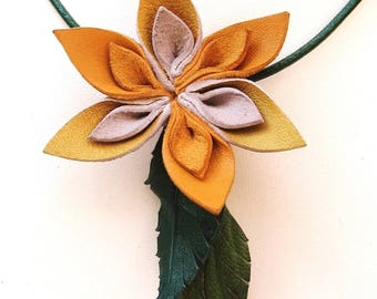 Necklace, mothers day special original leather flowers