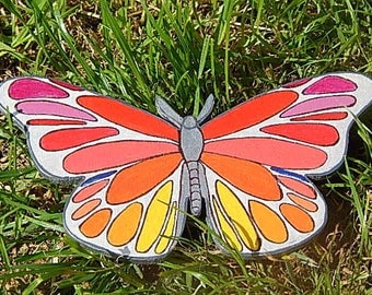 Wooden decorative, orange, red, Yellow Butterfly