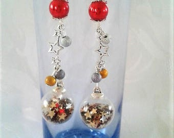 Star earrings - silver, gold and Red