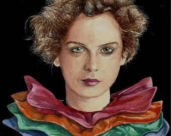 Portrait of a woman using gouache paint ( opaque watercolour)