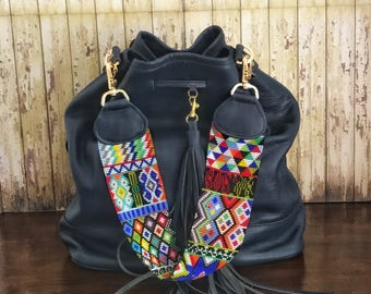Mexican Leather Bag/ Hobo Leather Handbag/Leather Beaded Bag/ Huichol Purse/ Leather Purse /Hobo Purse /Leather bag/ Beaded Bag
