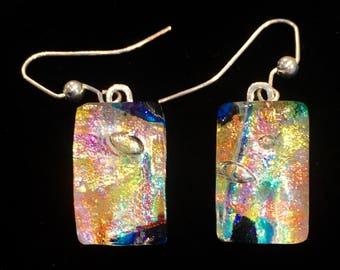 Rainbow Dichroic Glass Earrings