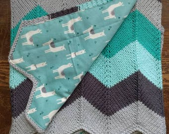 Teal & Grey Chevron Knit Baby Blanket