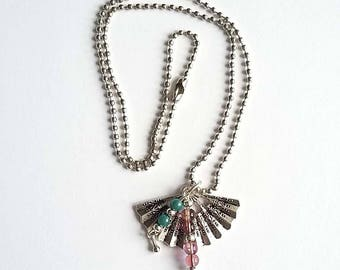 Charm necklace fan and beads
