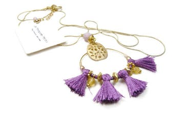 Fine long minimalist gold necklace small purple silky tassel