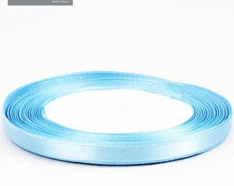 5 meters of 6 mm light blue satin ribbon
