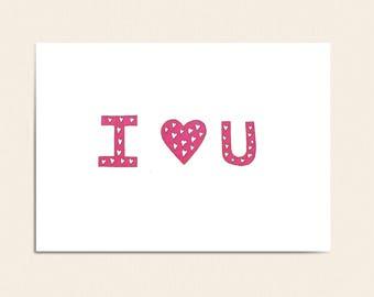 I Love You Card - I <3 U