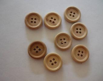 4 round 28 mm light brown wooden button