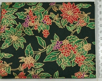 100% cotton. Embroidery patchwork - Christmas poinsettia.